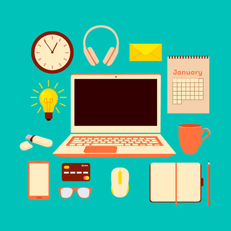 Set of flat vector design illustration of modern business office and workspace. Flat Style Modern Design Concept of Creative Office Workspace.