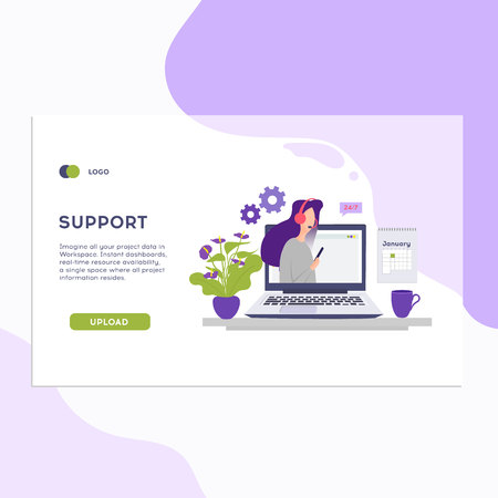 Online support concept.Online global technical support 24 7. Vector illustration Idea of advice, help, assistance. Zdjęcie Seryjne