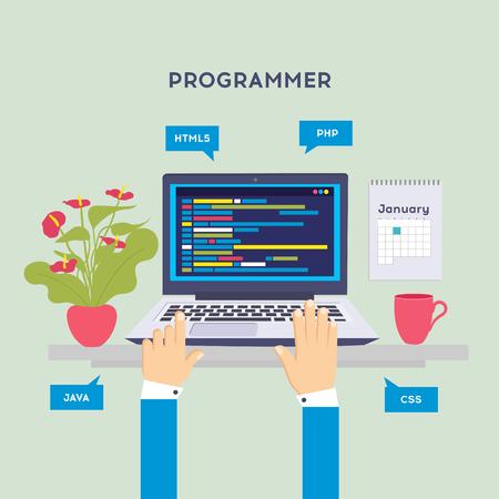 Miejsce pracy programisty lub kodera. Kodowanie oprogramowania, języki programowania, testowanie, debugowanie, strona internetowa, SEO w wyszukiwarkach Ilustracja wektorowa w płaskim stylu