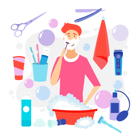 Man Shaving Face with Foam. Skin Care. Vector cartoon illustration. Man with shaving cream on his face and razor in hand. Young man prepping face for daily shaving. Shaving effect.  イラスト・ベクター素材