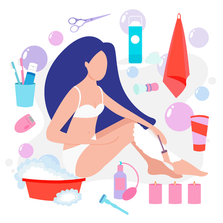 Vector illustration of beautiful woman towel shaves her legs with a safety razor. The concept of body care, hair removal, epilation at home, beauty. Electric epilator, shaver, shaving razor, waxing strips, hot wax in bowl, well-groomed woman legs