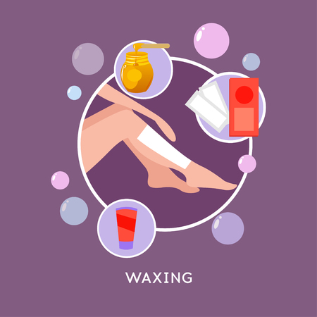 Vector illustration of beautiful woman towel shaves her legs with a safety razor. The concept of body care, hair removal, epilation at home, beauty. Waxing strips, hot wax in bowl, well-groomed woman legs