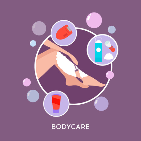Vector illustration of beautiful woman towel shaves her legs with a safety razor. The concept of body care, hair removal, epilation at home, beauty. Electric epilator, shaver, shaving razor, well-groomed woman legs