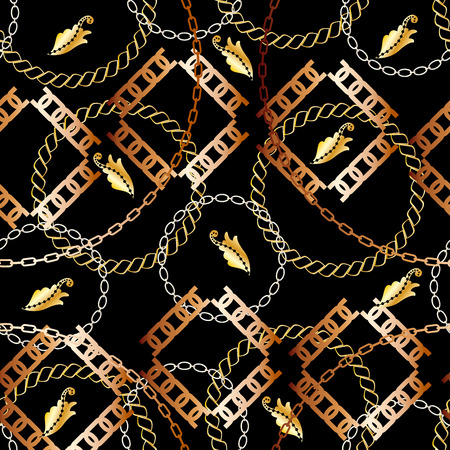 Fashion Seamless Pattern with Golden Chains. Fabric Design Background with Chain, Metallic accessories. Luxurious linear print with fashion accessories.