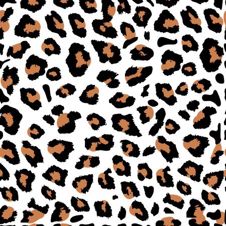 Seamless orange leopard print on white background. Vector pattern, texture, background Illustration
