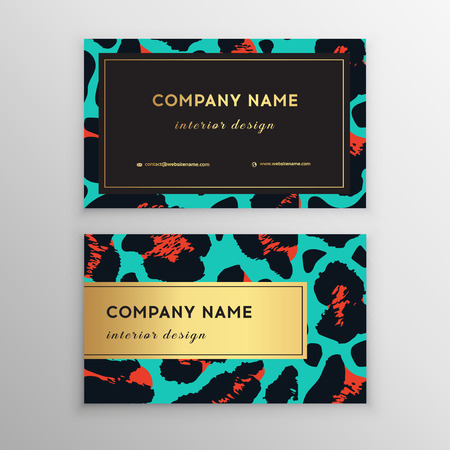 Business card trendy leopard pattern. Wild animals business card. Abstract Modern Backgrounds.