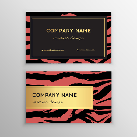 Business card trendy zebra and tiger pattern. Wild animals business card. Abstract Modern Backgrounds.