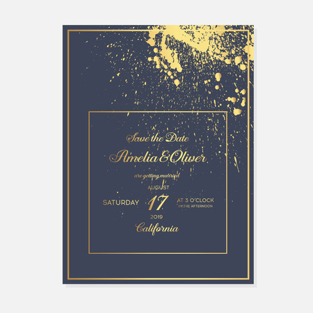 Set wedding invitation cards with gold palm on dark blue background. Luxury exotic botanical design for wedding ceremony. Minimalist botanical wedding invitation card template design. Illustration