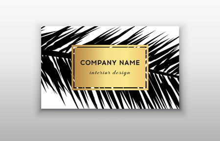 Business cards tropical graphic design, tropical palm leaf. Vector illustration. Creative business card template design. Stock Illustratie