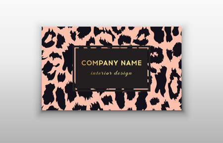 Business card trendy leopard pattern. Wild animals business card. Abstract Modern Backgrounds. Imagens - 122861317