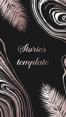 Stories frame template with pink gold palm tree leaves.  Stories template, vector illustration. Design backgrounds for social media story. Design backgrounds for social media banner.