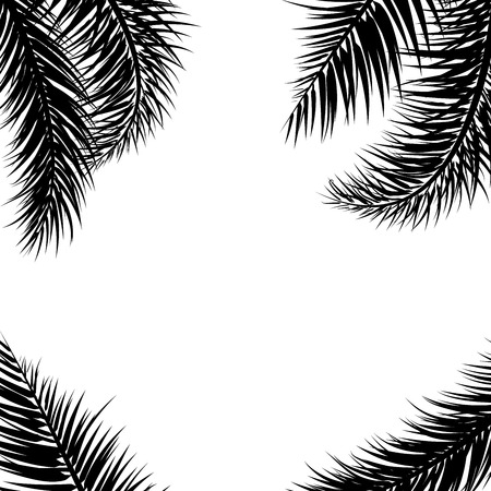 Vector tropical Black palm leaves on white background. Summer tropical palm tree  leaves border, frame background. Vector grunge design for card, poster, wallpaper. Ilustração