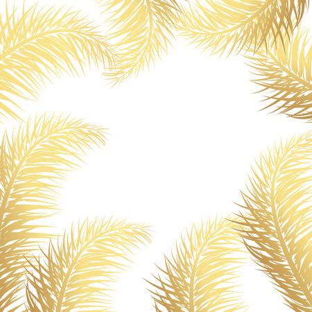 Vector tropical Golden palm leaves on white background. Summer tropical palm tree gold leaves border, frame background. Vector grunge design for card, poster, wallpaper.