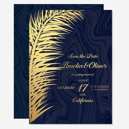 Set wedding invitation cards with gold palm on dark blue background. Luxury exotic botanical design for wedding ceremony. Minimalist botanical wedding invitation card template design.