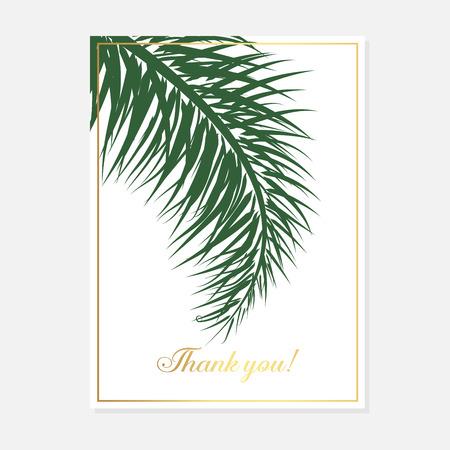 Set wedding invitation cards with gold palm on white background. Luxury exotic botanical design for wedding ceremony. Minimalist botanical wedding invitation card template design.