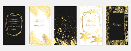 Set of stories frame templates with gold palm tree leaves. Set of tropical Templates. Stories template. Design backgrounds for social media banner.