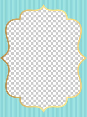 Blue vector template of invitation card for little girl. Printable colorful invite. Frame.