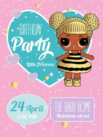Birthday Invitation with cute Lol Dolls. Element of design for invite card. Illustration