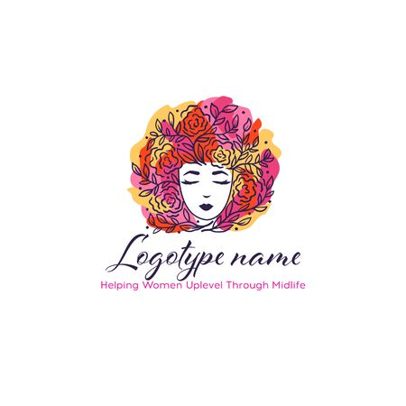 Beautiful woman head  with flowers hair. Design for spa, ayurveda, beauty salon, cosmetics, cosmetology. Fashion, style, beauty. Illustration