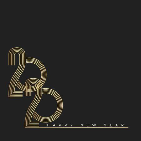 Happy New Year 2020. Modern 2020 Text Design.Vector New Year illustration. 일러스트