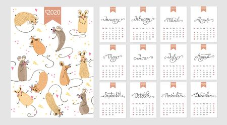 Calendar 2020. Cute monthly calendar with rat. Hand drawn style characters. Year of the rat. Illustration