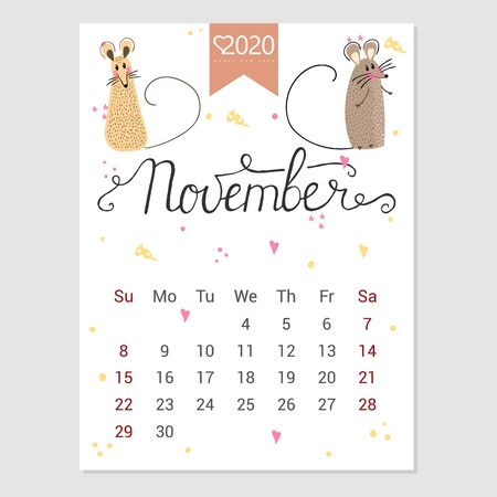 Calendar  November 2020. Cute monthly calendar with rat. Hand drawn style characters. Year of the rat.