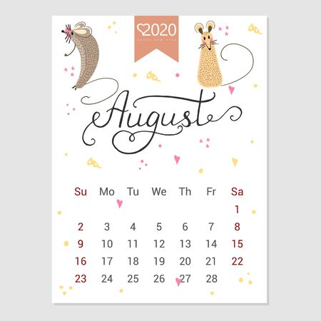 Calendar  August 2020. Cute monthly calendar with rat. Hand drawn style characters. Year of the rat. Illustration