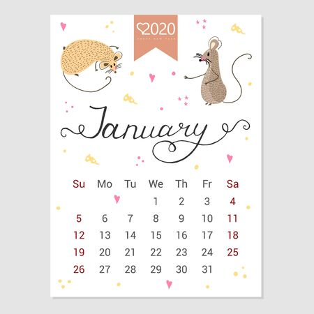Calendar  January 2020. Cute monthly calendar with rat. Hand drawn style characters. Year of the rat. Illustration