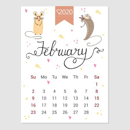 Calendar  February 2020. Cute monthly calendar with rat. Hand drawn style characters. Year of the rat. Illustration