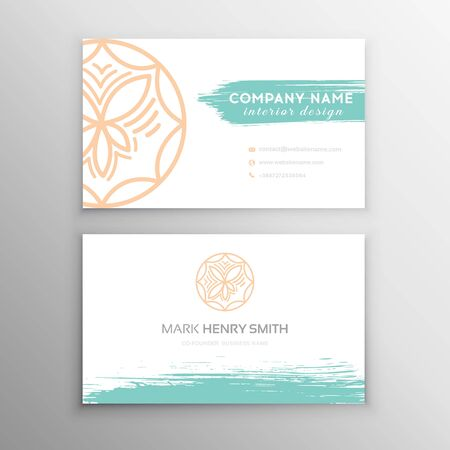 Set of Blue Design Business card. Abstract Modern Backgrounds.Brush stroke 일러스트