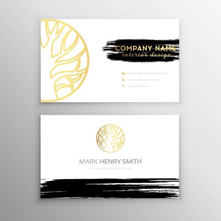 Set of Black and Gold Design Business card. Abstract Modern Backgrounds.Brush stroke