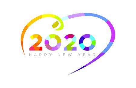 Happy New Year 2020. Modern Bright 2020 Text Design.