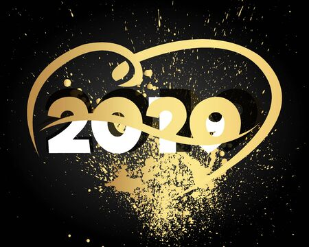 Happy New Year 2020 with Heart. Modern 2020 Text Design.