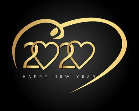 Happy New Year 2020 with Heart. Vector New Year illustration. Brochure design template, card, banner