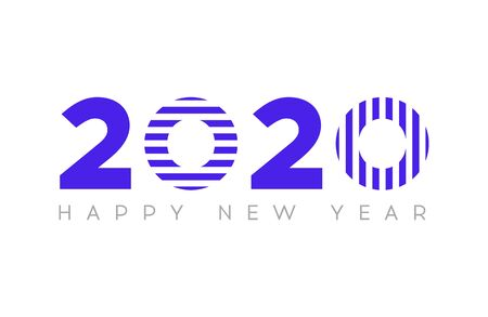 Happy New Year 2020. Vector New Year illustration. Brochure design template, card, banner