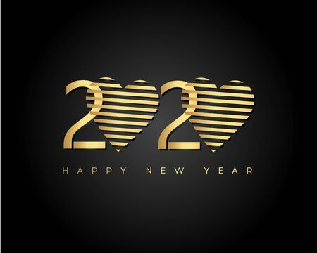 Gold Happy New Year 2020 with Heart. Vector New Year illustration. Brochure design template, card, banner