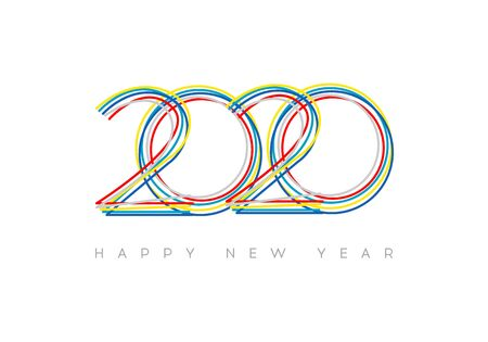 Happy New Year 2020. Vector Bright New Year illustration. Brochure design template, card, banner