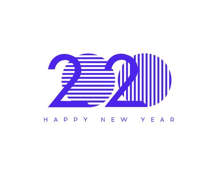 Happy New Year 2020. Vector New Year illustration. Brochure design template, card, banner  Illustration
