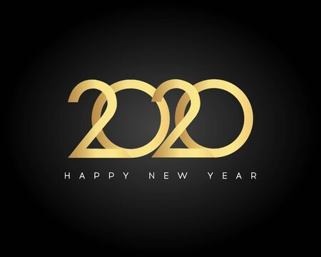 Gold Happy New Year 2020. Vector New Year illustration. Brochure design template, card, banner  Illustration