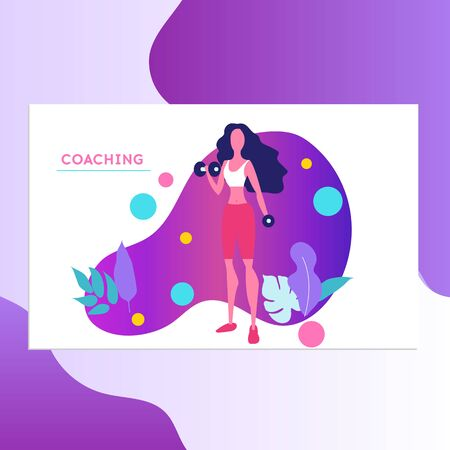 Life coach vector illustration. Coaching concept illustration. Fitness, Sport and Healthy Lifestyle Concept, Personal Trainer People. Business Strategy Courses for Women.