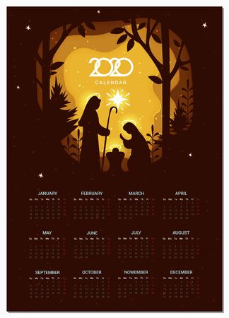 Calendar 2020 vector basic grid. Birth of Christ. Nativity scene with Holy Family. Paper art illustrations.