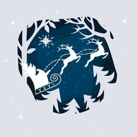 Santa Claus with Deer in a forest and snow. Paper art illustrations. 일러스트