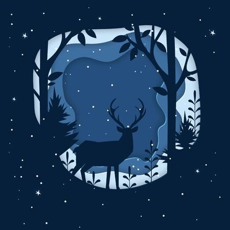 Deer in a forest and snow. Paper art illustrations.