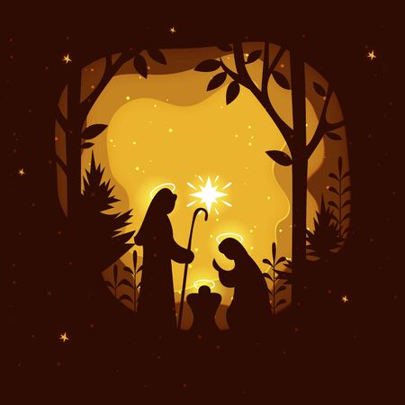 Birth of Christ. Nativity scene with Holy Family. Paper art illustrations.