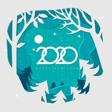 Merry christmas and happy New Year 2020,Snow forest. Paper vector Illustration