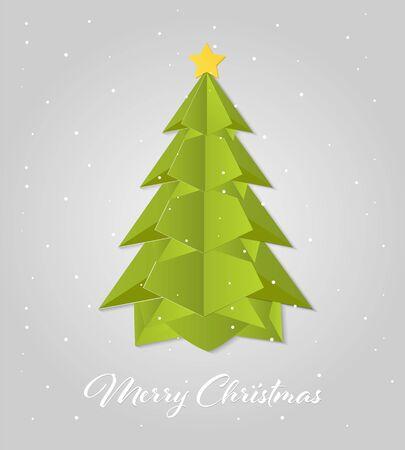 Paper Art Christmas tree. Merry christmas vector design.