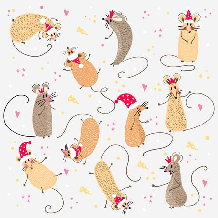 Set of funny rats with santa claus hats for design. 2020.Different rats christmas collection. Rat poses. Cute cartoon new year clipart set. Vector illustration 일러스트