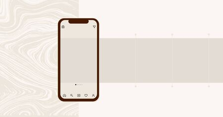 Social media design concept. Smartphone with interface carousel post on social network. Carousel post on the side of the phone.