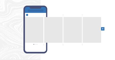 Social media design concept. Smartphone with interface carousel post on social network. Carousel post on the side of the phone. UI vector illustration. Interface carousel.