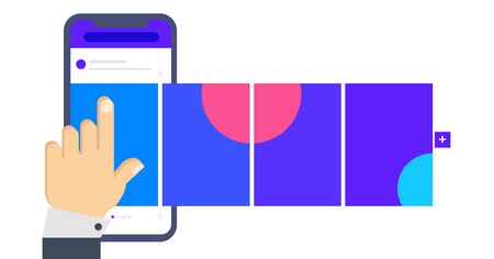 Social media design concept. Smartphone with interface carousel post on social network. Carousel post on the side of the phone. Hand flips through the posts in the social network on the smartphone scr